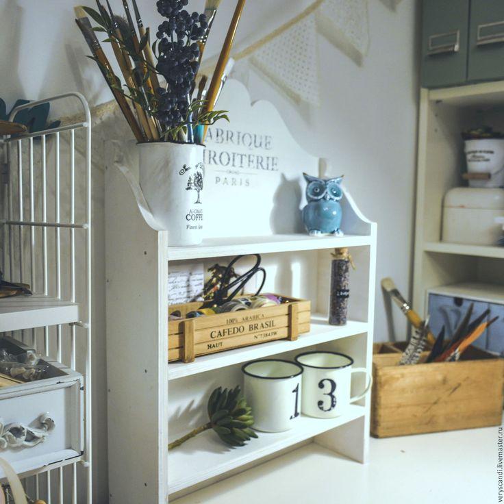 Купить Полка деревянная винтажная рустик - белый, полка для кухни, полка для специй, вешалка для кухни
