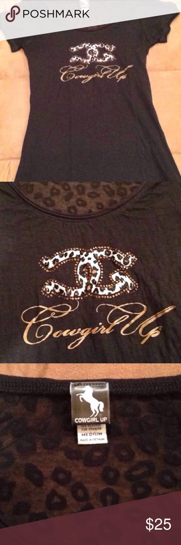 Cowgirl Up leopard shirt Cute Cowgirl Up shirt with leopard burn out. Great condition Cowgirl Up Tops Tees - Short Sleeve