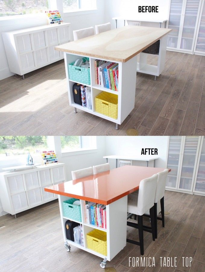 before and after DIY Craft table