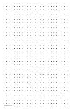 This printable dot paper has four dots per inch and is in portrait (vertical) orientation on ledger-sized paper. Free to download and print