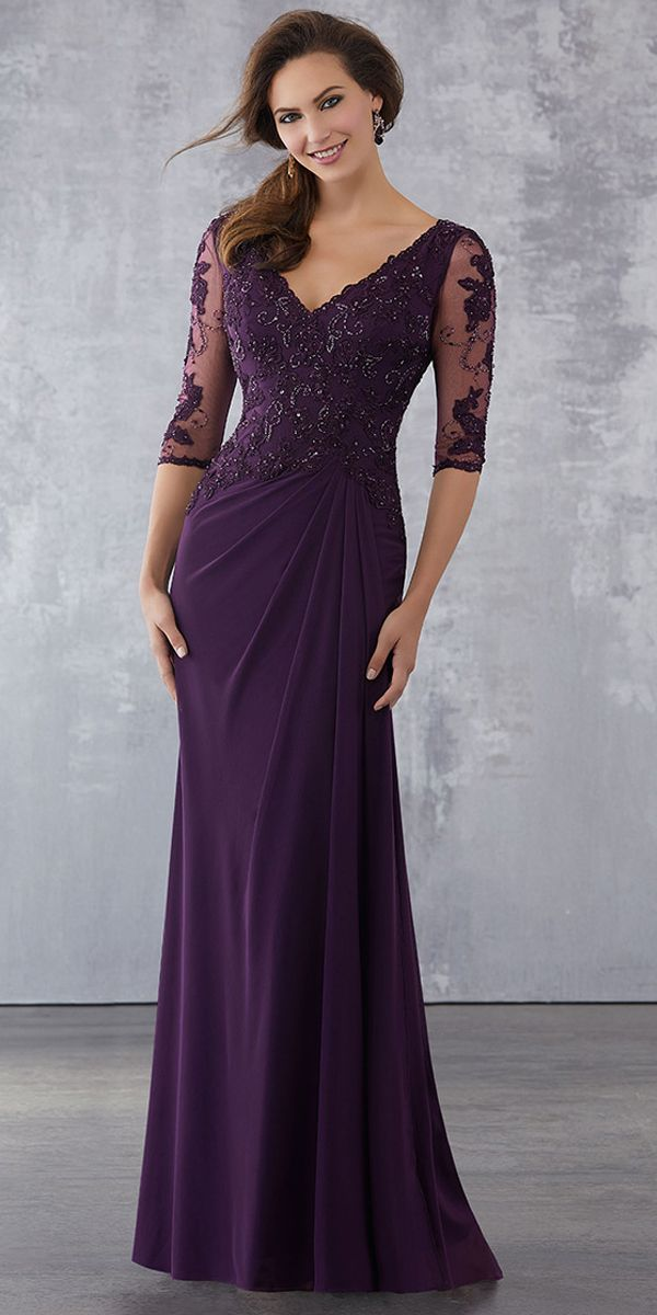 [120.99] Gorgeous Tulle & Chiffon V-neck Neckline 3/4 Length Sleeves Sheath/Column Mother Of The Bride Dresses With Beaded Lace Appliques