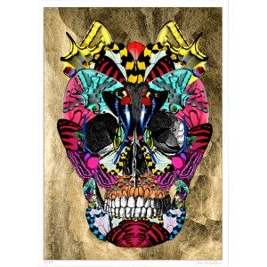 Gold Foil Skull Art Print by Kristjana S Williams - available to buy online from Everything Begins.