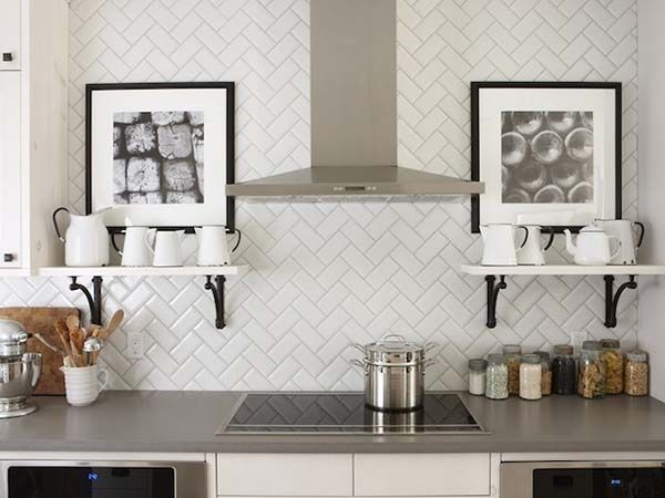 white subway tile herringbone by tikiman n tikimum via. Black Bedroom Furniture Sets. Home Design Ideas