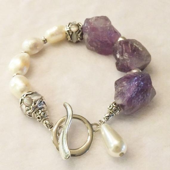 Amethyst Armband, Perlenarmband, Silber Perlen Armband, rohen Amethyst Boho Armband, personalisierte Schmuck   – Jewelry making