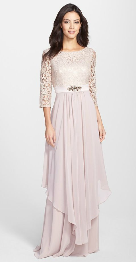 Taupe lace mother-of-the-bride dress