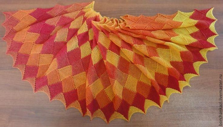 Купить Палантин Танец огня шарф вязаный спицами в интернет магазине на Ярмарке Мастеров