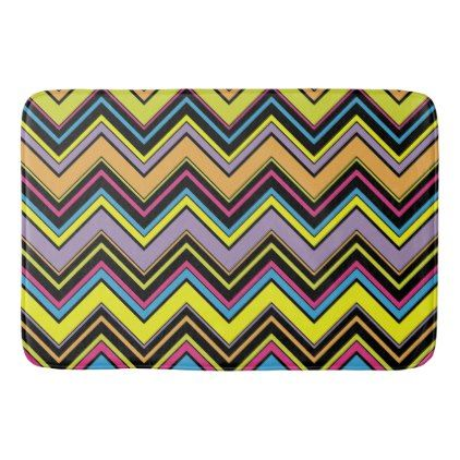 Zigzag Pattern Chevron Pattern - Green Blue Pink Bath Mat - pattern sample design template diy cyo customize