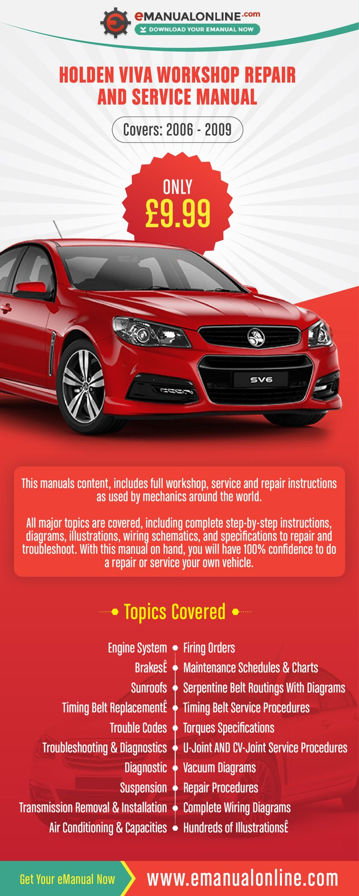 Holden Viva Workshop Repair And Service Manual  This manuals content, includes full workshop, service and repair instructions as used by mechanics around the world.