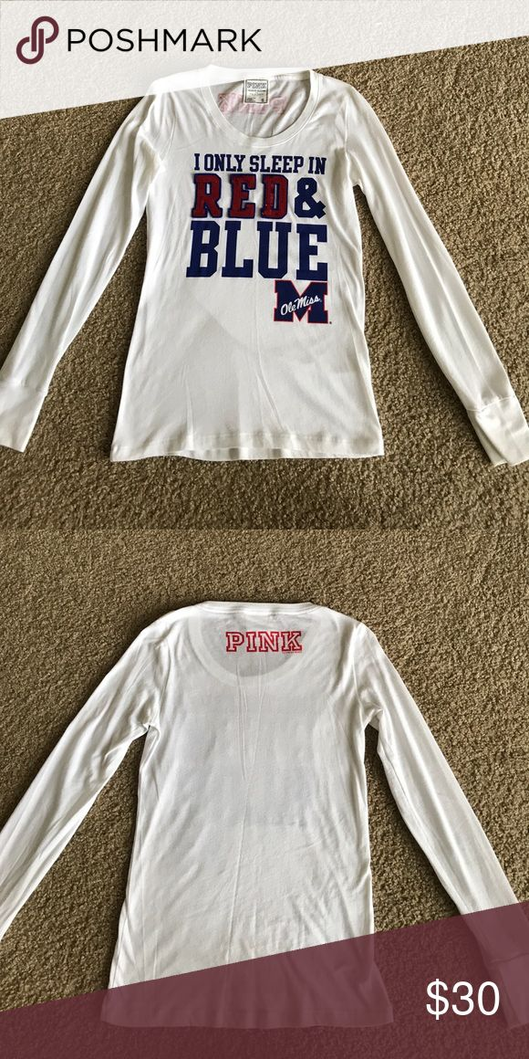 Victoria's Secret PINK Ole Miss Long Sleeve Shirt Victoria's Secret PINK Ole Miss Long Sleeve Shirt - size S. Gently worn. **Hard to find** No stains, rips or tears. Smoke free home. Willing to bundle. PINK Victoria's Secret Tops Tees - Long Sleeve