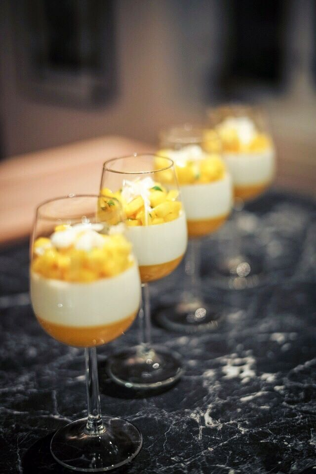Coconut Panna Cotta with Mango coulis