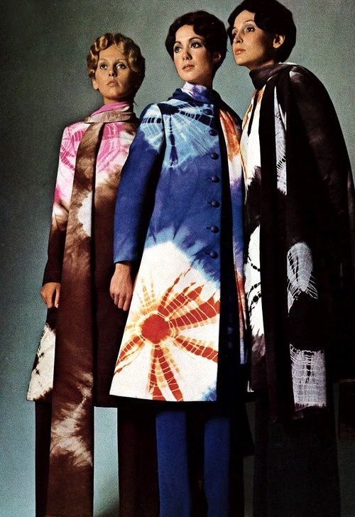 The tie dye came out in the late 1960s through the 1970s. In the is Vogue Italia they used the tie dye for the coats during 1970. Tie dye can be used for different styles dresses, shirts, skirts, socks, and many more.  -Ashlie