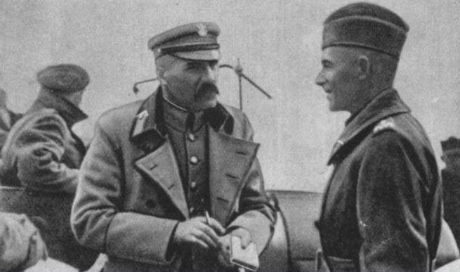 Piłsudski (left) and Edward Rydz-Śmigły (right), 1920, during Polish-Soviet War