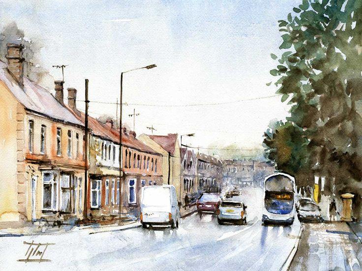 Sheffield, UK Watercolour - 30cm x 40cm Jaroslaw Glod - http://www.artende.pl  #england #sheffield #watercolour #watercolor #painting #street
