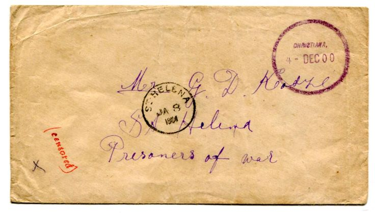 "St Helena (BOER WAR) 1900 censored stampless envelope to POW St Helena cancelled by a very fine strike of the circular ""CHRISTIANA"" c.d.s. 4 DEC 00 in violet. Manuscript ""(Censored)"" Receiving cancellation on the front."
