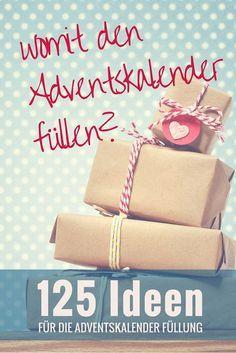 DIY Adventskalender füllen: 125 Ideen für die Füllung // Adventskalender Inhalt für Erwachsene & Kinder, Gutscheinideen, Süßigkeiten und gesunde Alternativen                                                                                                                                                                                 Mehr