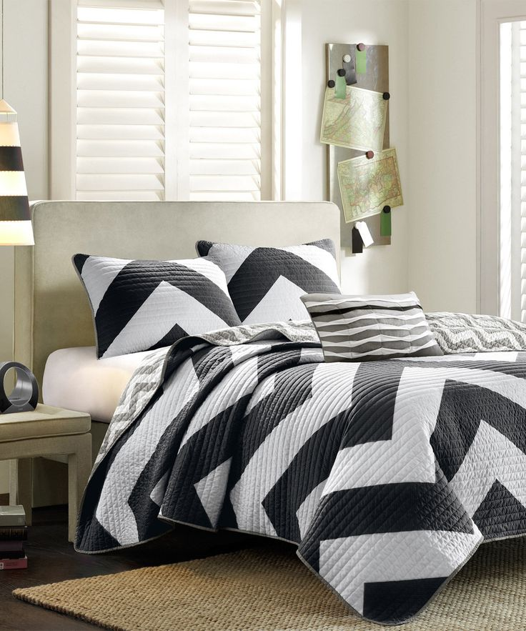 Look at this Black & White Chevron Bedding Set on #zulily today!