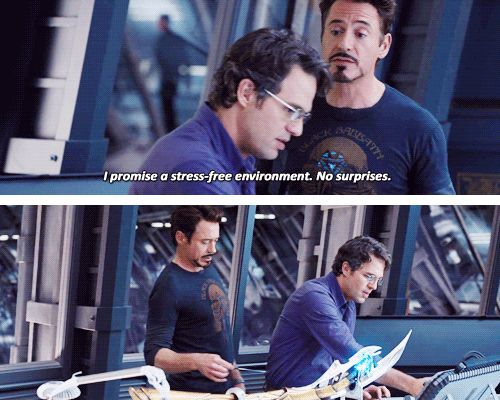 tony stark and bruce banner <-- I love the looks in the second gif Tony is : Ouch that's gotta sting and Bruce is: Ow Tony what was that for