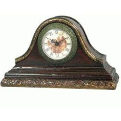 Antique wooden mantel clock with a mural scene in the clock face