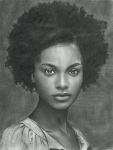 Retrato de belleza afroamericana, dibujo 21,59×27,94 cm 2012 (Javier Muñoz S)