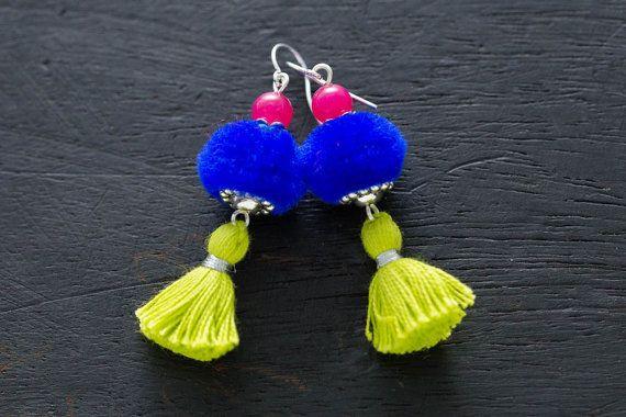 Ethnic PomPom Tassel Earrings, Funky Fun Jewelry, Tassel Jewelry, PomPom…