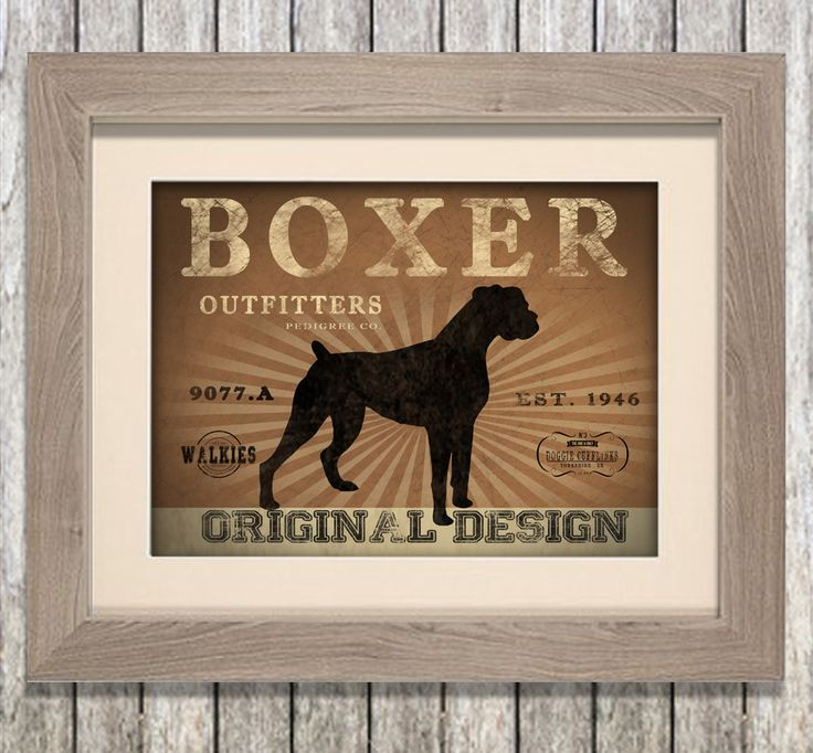 Boxer dog outfitters canvas print. Lovely rustc feel. You can personalise this print with your own dog's name and even choose your own colour to match your walls at home! www.monkeyofthenorth.co.uk