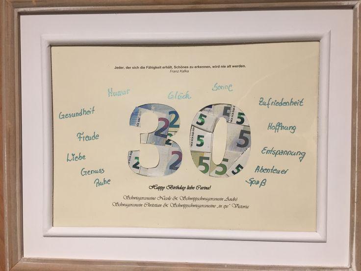 Geldgeschenk zum 30. Geburtstag: Die 30 bildet die äußere Hülle, aber innerlich ist es eine 25 ;)