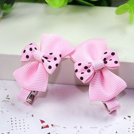 Kidz Outfitters Double Bows Hair Clips by Kidz Outffiters - KidzOutfitters.com Item  C1200032 Pink & Brown