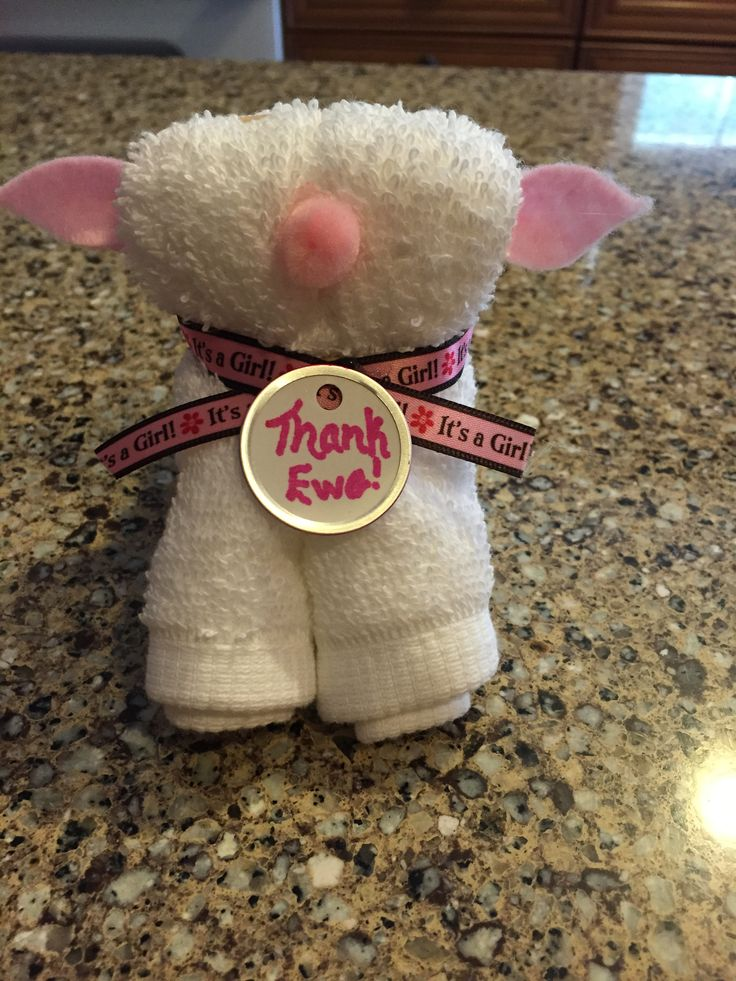 Best 25 lamb baby showers ideas on pinterest babyshower decor washcloth lamb baby shower favor negle Image collections