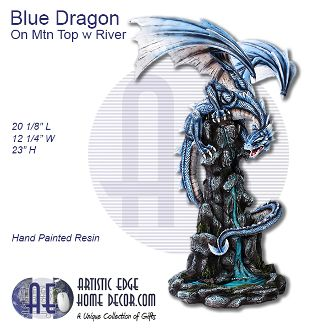 Blue Dragon Crouched on Mountain Top with River