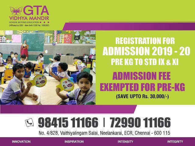 CBSE School Admissions 2019-20, GTA Vidhya Mandir School in