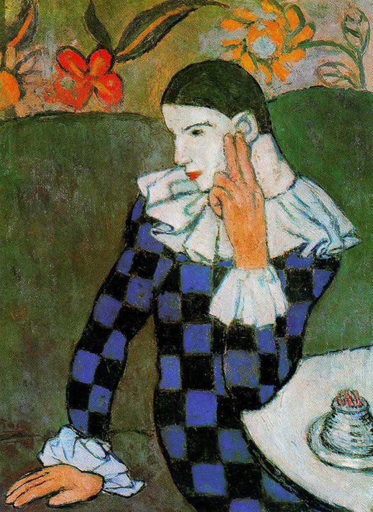 Pablo PICASSO (Spanish: 1881-1973) - Harlequin leaning (1901)