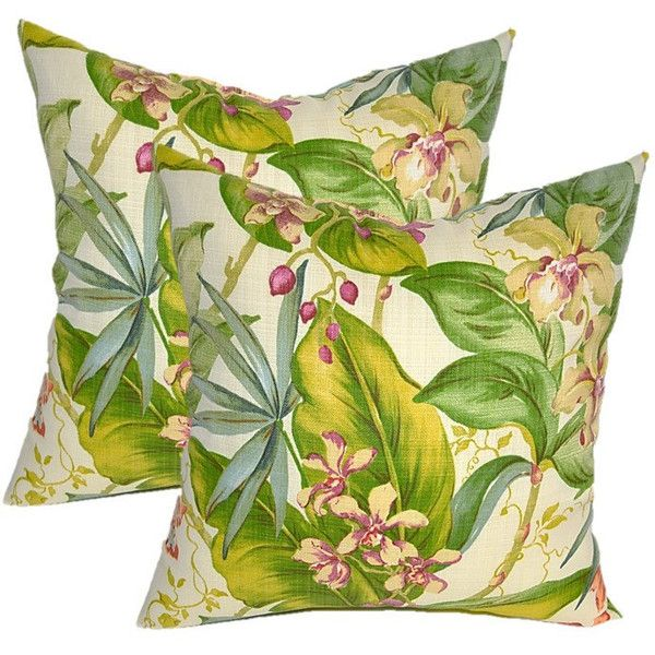 Set of 2 Tommy Bahama Fresco Tropical Floral Decorative Square Throw... ($40) ❤ liked on Polyvore featuring home, home decor, throw pillows, decorative pillows, home & living, home décor, silver, tropical accent pillows, outdoor home decor and outdoor accent pillows