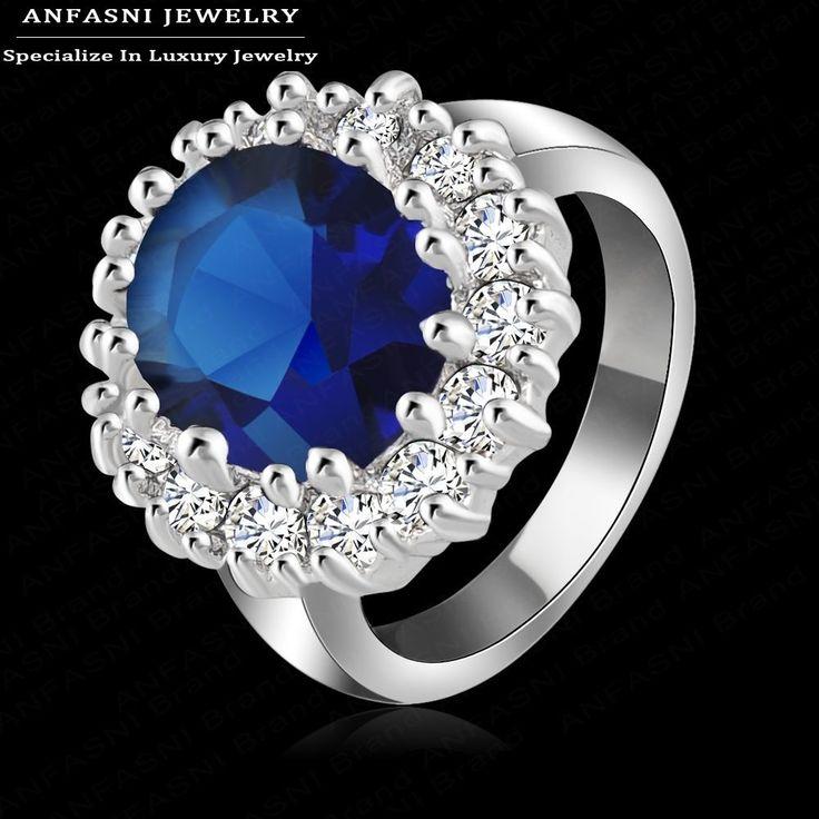 Luxury Britannica Kate Principessa Diana William Anello di Fidanzamento con Piatto D'argento di Cristallo Anelli di Cerimonia Nuziale per Le Donne Ri-Hq0016