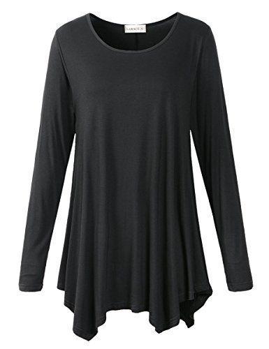 6d29b75c051f2 LARACE Womens Long Sleeve Flattering Comfy Tunic Loose Fit Flowy Top   blouses  tunics