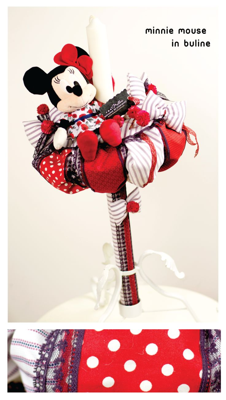 "TRUSOURI DE BOTEZ & LUMANARI BOTEZ  CUSTOM MADE "" DISNEY MINNIE MOUSE RED "" 