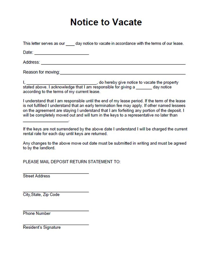 Printable sample vacate notice form laywers template for Template for 60 day notice to vacate