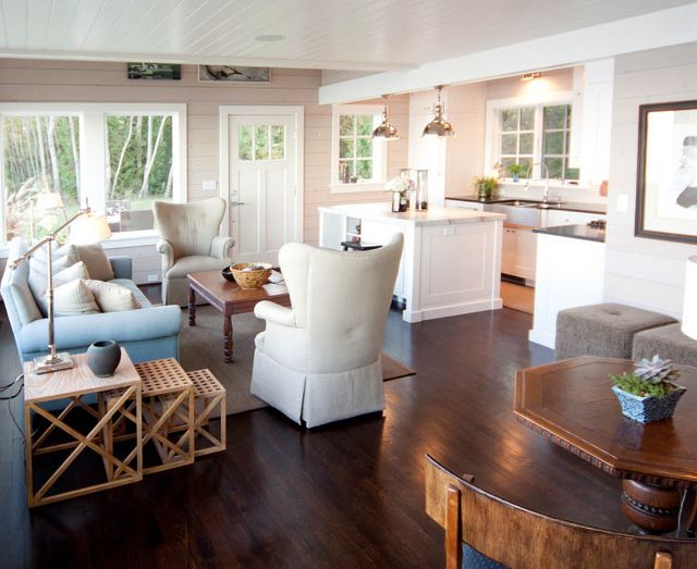 Dark Hardwood Floors And Neutral Colored Furniture LaSalle Home Beach Cottage By Mitch Wise Design Living RoomsKitchen LivingRoom