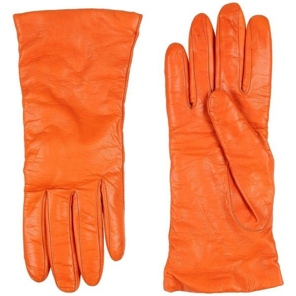 P.a.r.o.s.h. Gloves ($88) ❤ liked on Polyvore featuring accessories, gloves, orange, orange leather gloves, animal gloves, leather gloves, orange gloves and real leather gloves