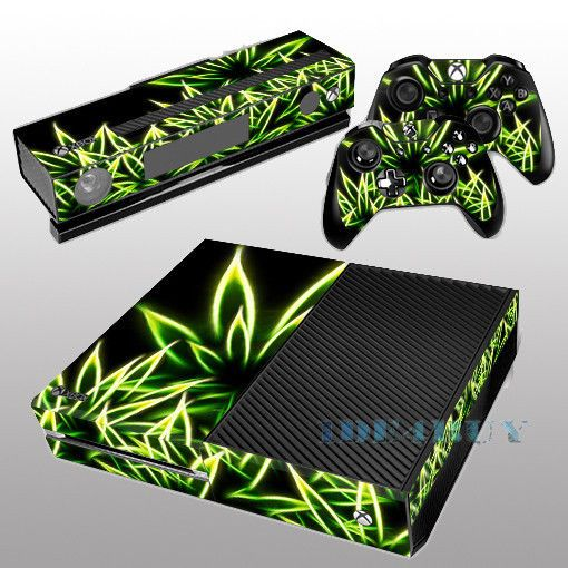 for X box One Console Kinect 2 free Controller Covers Shine Green Skin Sticker #UnbrandedGeneric #leaf