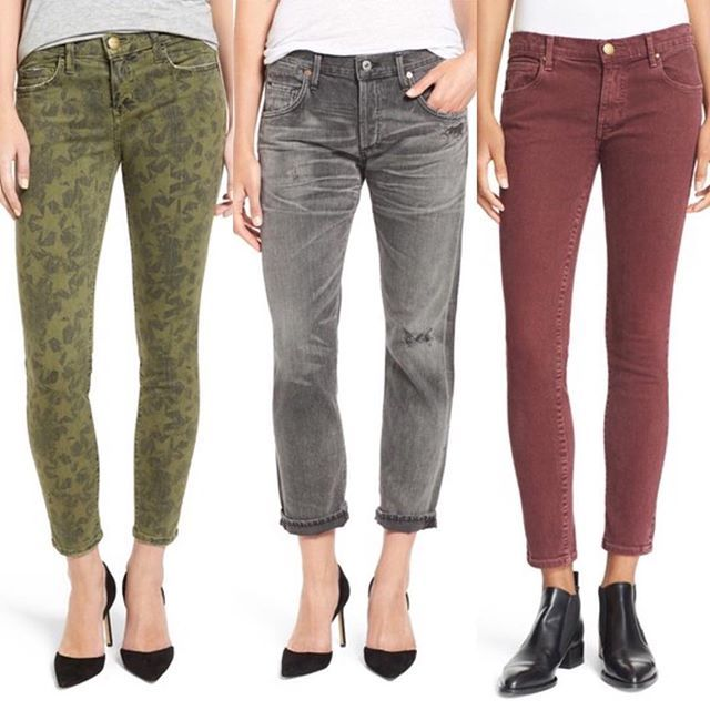 """They may be #jeans but they sure aren't blue 😉 Love the new autumn colors! #currentelliott """"The Stiletto"""" crop #skinnyjeans ⭐️⭐️⭐️ #citizensofhumanity """"Emerson"""" slim boyfriend #jeans 👌👌👌 #thisisthegreat Low Rise Skinny Jeans #denim (📸 @nordstrom)"""