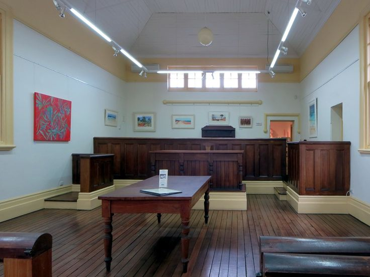 This 1897 courtroom is a fine example of Federation architecture with woodwork made from Jarrah (Eucalyptus marginata). It`s now part of the ArtGeo Cultural Complex at Busselton, Western Australia.