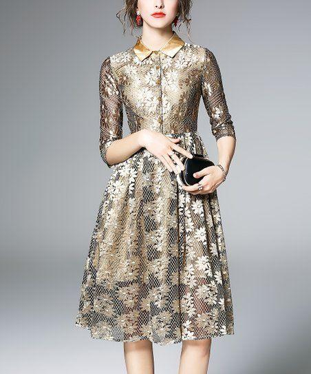 24f1998d7ab Coeur de Vague Gold Floral Lace A-Line Dress - Women