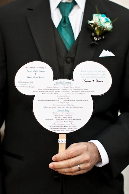 At Home Disney Wedding - Mickey Head Program Fan {Crystal Lee Photography} - MouseTalesTravel.com