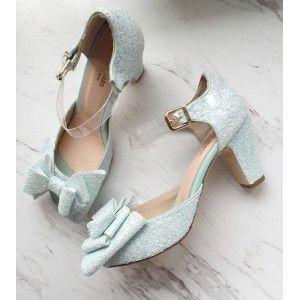 Mavi Sedefli Fiyonklu Gelin Ayakkabısı (7 cm )