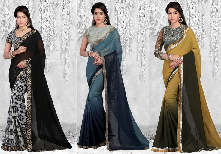 """""""The very essence of #romance is uncertainty."""" Pack of 3 Designer #Party Wear #Sarees"""