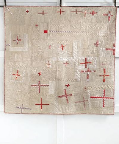 """WWI """"cross quilt"""" to raise money for the red cross. It looks modern!"""
