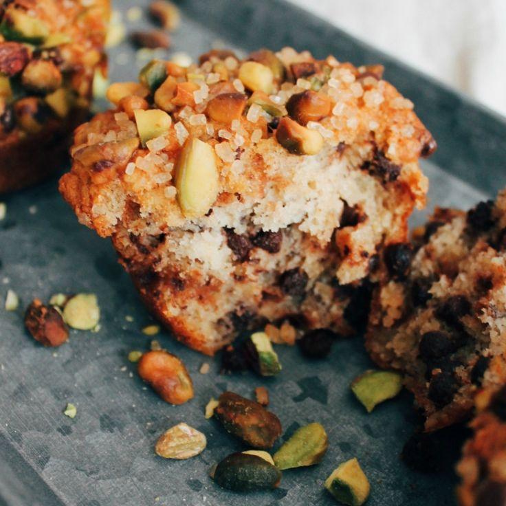 Muffins bananes pistaches et chocolat