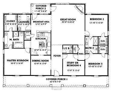 Home Plans HOMEPW07937 - 2,354 Square Feet, 4 Bedroom 2 Bathroom Country Home with