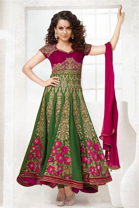 Graceful Kangana Ranaut Green, Maroon Georgette Emboidered Anarkali Suit
