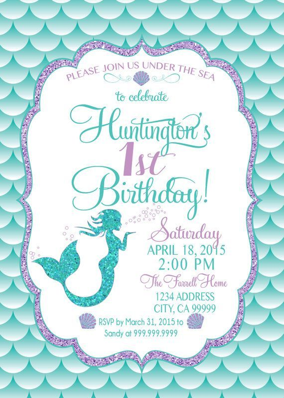 on sale mermaid birthday invitation mermaid party invite under the sea mermaid glitter - Little Mermaid Party Invitations